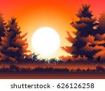 moon and grass in pine wood at... | Shutterstock .eps vector #626126258