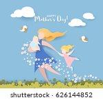 beautiful women with her... | Shutterstock .eps vector #626144852