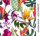 seamless pattern of tropical... | Shutterstock . vector #626148692