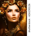 gold woman holiday makeup.... | Shutterstock . vector #626150126
