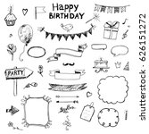 birthday  set of hand drawn... | Shutterstock .eps vector #626151272