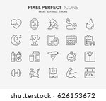 thin line icons set of fitness  ... | Shutterstock .eps vector #626153672