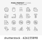 thin line icons set of fitness  ... | Shutterstock .eps vector #626155898