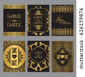 wedding invitation set in black ... | Shutterstock .eps vector #626159876