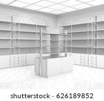 chemist's or drugstore empty... | Shutterstock . vector #626189852