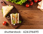 delicious toast sandwich with... | Shutterstock . vector #626196695