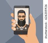 hipster bearded man lumberjack... | Shutterstock .eps vector #626205926