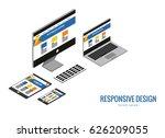 responsive web design  computer ... | Shutterstock .eps vector #626209055