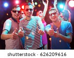 group of happy friends showing... | Shutterstock . vector #626209616