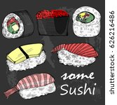 hand drawn some sushi and rolls.... | Shutterstock .eps vector #626216486