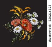 poppies and chamomiles bouquet... | Shutterstock .eps vector #626216825