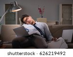 businessman workaholic working... | Shutterstock . vector #626219492
