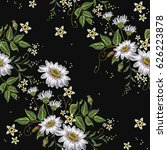 chamomiles embroidery seamless... | Shutterstock .eps vector #626223878