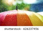 rain drops falling onto umbella ... | Shutterstock . vector #626237456