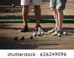old mens playing petanque in a... | Shutterstock . vector #626249096