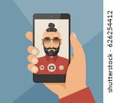 hipster bearded young man takes ... | Shutterstock .eps vector #626254412