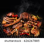 assorted delicious grilled meat ... | Shutterstock . vector #626267885