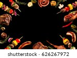 collage of various grilled meat ... | Shutterstock . vector #626267972