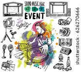 sound  music and light vector... | Shutterstock .eps vector #626270666