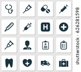 medicine icons set. collection... | Shutterstock .eps vector #626281598