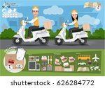fast delivery. delivery man and ... | Shutterstock .eps vector #626284772