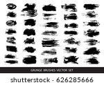 set of black paint  ink  grunge ...   Shutterstock .eps vector #626285666