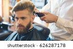 young man in barbershop hair... | Shutterstock . vector #626287178