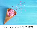 Delicious Ice Cream In Waffle...