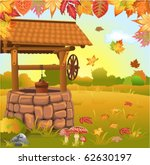 autumn landscape with well | Shutterstock .eps vector #62630197