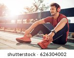young male jogger athlete... | Shutterstock . vector #626304002