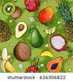pattern. fresh food. watermelon ... | Shutterstock .eps vector #626306822