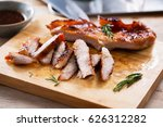 tasty slice grilled pork on... | Shutterstock . vector #626312282