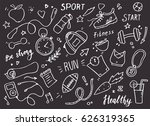 set of hand drawn sport doodle... | Shutterstock .eps vector #626319365