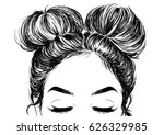 hairstyle double buns | Shutterstock .eps vector #626329985