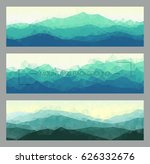 set of polygonal mountain... | Shutterstock .eps vector #626332676