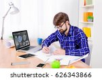 cad engineer's workplace with... | Shutterstock . vector #626343866