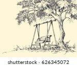 swing under the tree vector... | Shutterstock .eps vector #626345072
