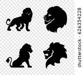 lion icons set. set of 4 lion...   Shutterstock .eps vector #626354228