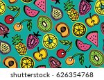 hand drawn doodle pattern with... | Shutterstock .eps vector #626354768