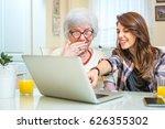 granddaughter pointing at...   Shutterstock . vector #626355302