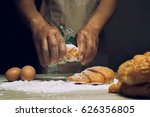 sprinkling flour over fresh... | Shutterstock . vector #626356805