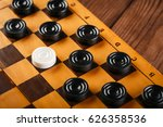 checkerboard with checkers.... | Shutterstock . vector #626358536