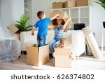 family moving to a new home | Shutterstock . vector #626374802