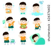 cute black hair boy have... | Shutterstock .eps vector #626376602