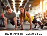 couple on exhausting fitness... | Shutterstock . vector #626381522