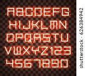glowing orange neon alphabet...   Shutterstock .eps vector #626384942