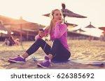 young beautiful woman sitting... | Shutterstock . vector #626385692
