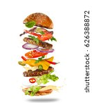 big tasty home made burger with ... | Shutterstock . vector #626388872