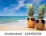 pineapple with sunglasses on... | Shutterstock . vector #626406236