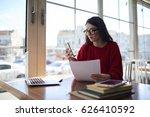 charming female administrative... | Shutterstock . vector #626410592